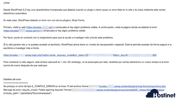 wp 52 email error detectado - WordPress