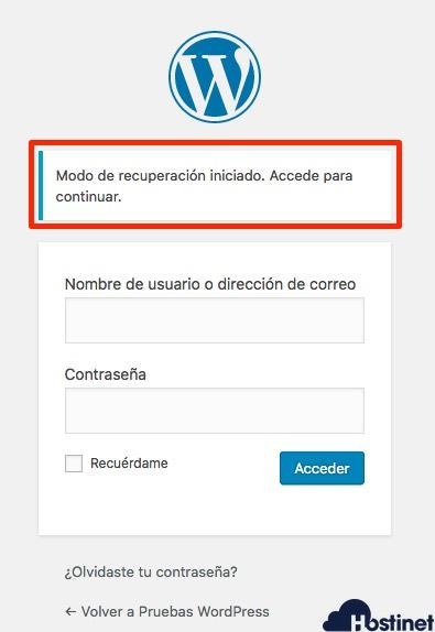 wp 52 login modo recuperacion - WordPress