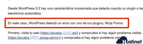 wp 52 plugin error detectado - WordPress