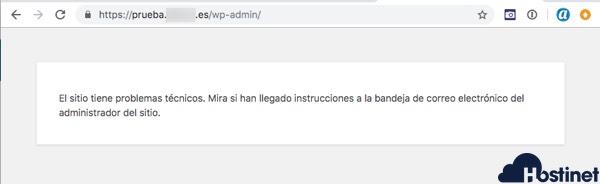 wp 52 problemas tecnicos bandeja entrada - WordPress