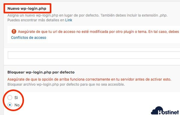 wp hide desactivar wp-login WordPress