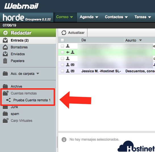 carpeta remota horde - Webmail