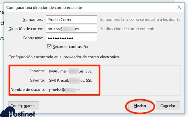 configuracion automatica thunderbird IMAP SSL