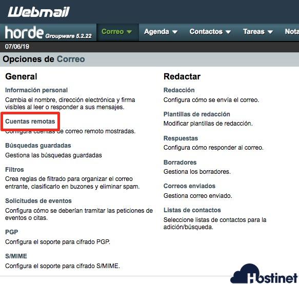 cuentas remotas opciones - Webmail
