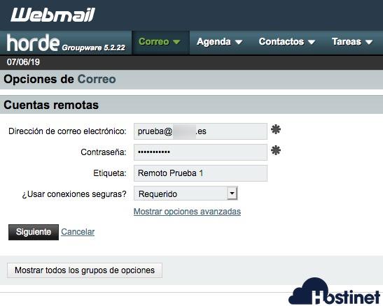 datos cuenta correo remoto horde - Webmail