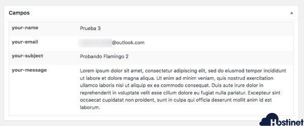 flamingo informacion mensaje campos WordPress