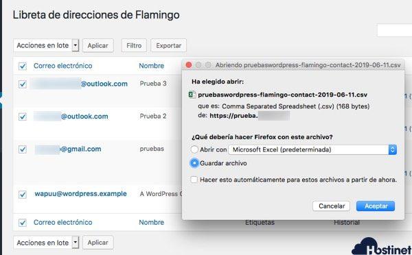 flamnigo exportar emails - WordPress