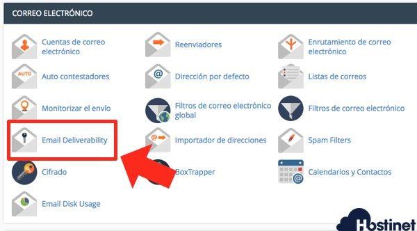 icono email deliverability en cPanel