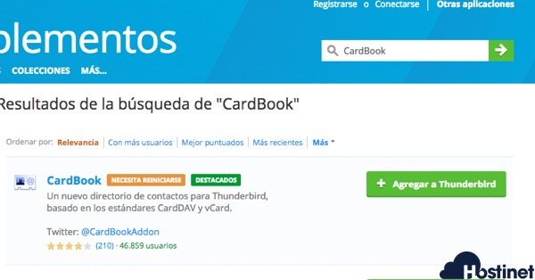 instalar cardbook Thunderbird