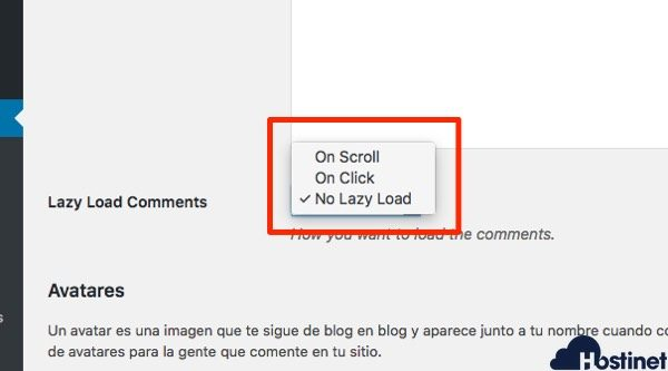 opciones comentarios lazy loads comments - lazy Load Comments