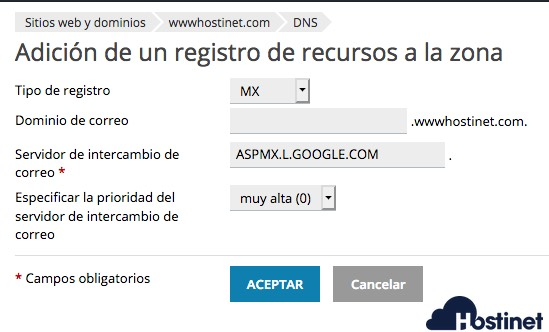 primer registro mx gsuite plesk - Google Registros MX