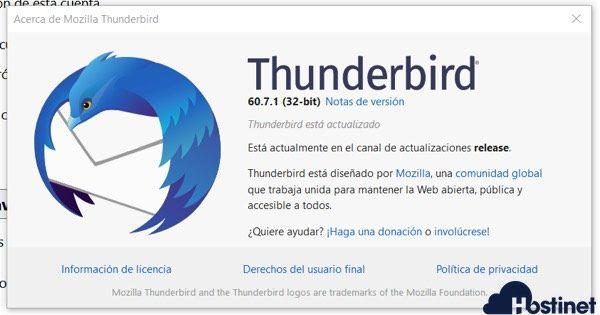 version thunderbird