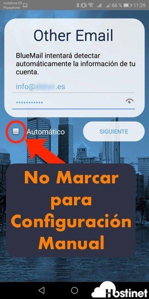 bluemail configuracion manual - Android