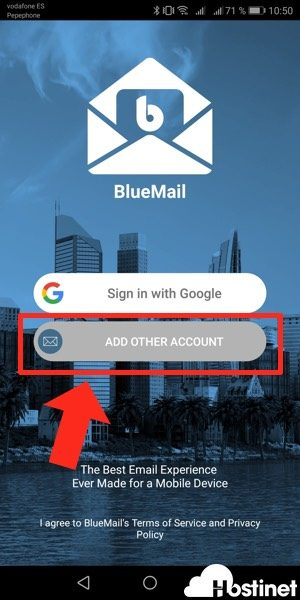 bluemail otra cuenta - Android