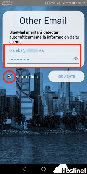 bluemail usuario contrasena - Android