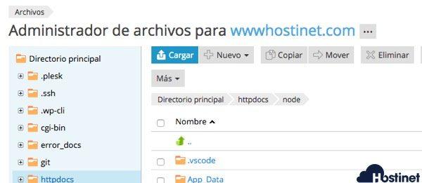 cargar archivos plesk - Node.js