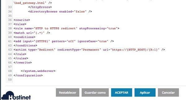 codigo https webconfig - Plesk