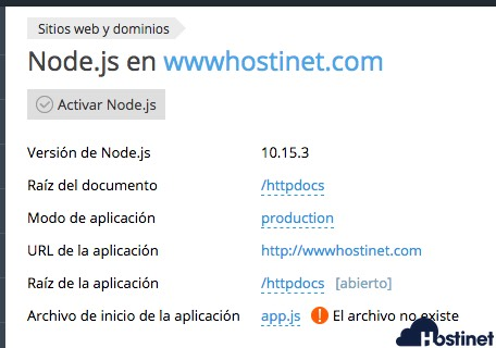 configuracion inicio node plesk - Node.js