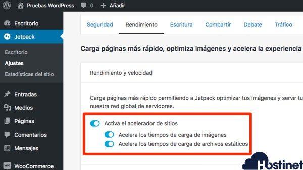 jetpack activar acelerador sitios - WordPress