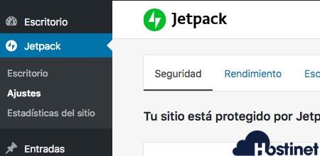menu jetpack opciones - WordPress