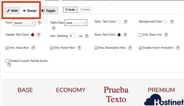 opciones desing princing table - WordPress
