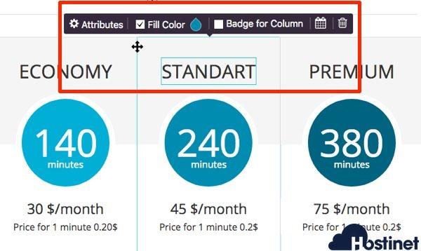 opciones modificar princing table - WordPress