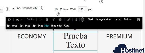 opciones texto princing table WordPress