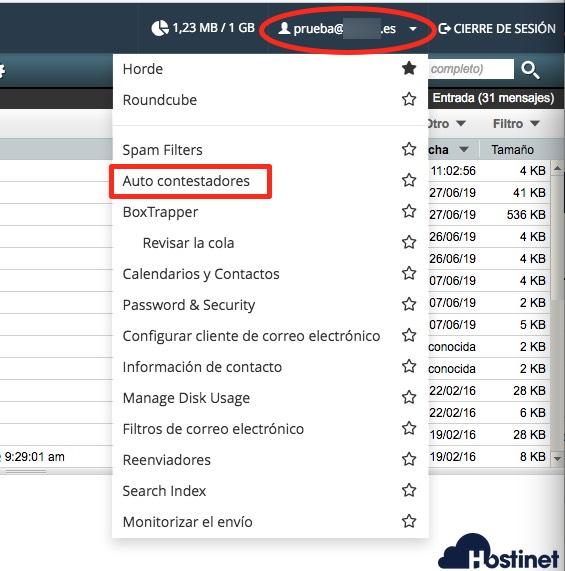 webmail acceso autorespondedor - Hostinet.com