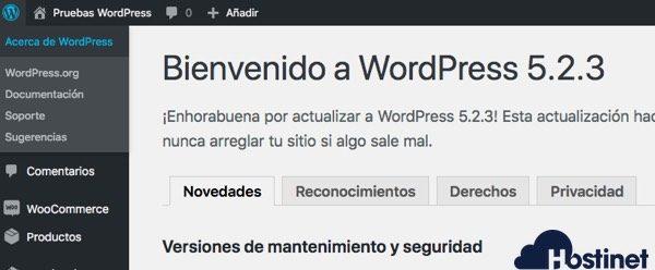 acerca wordpress versión