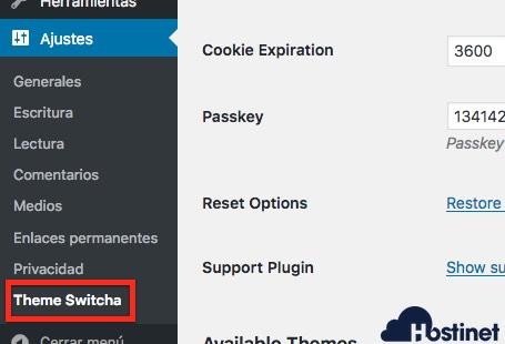ajustes theme switcha WordPress