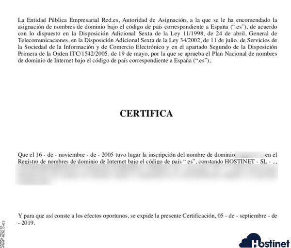 captura certificado titularidad - Dominios.es
