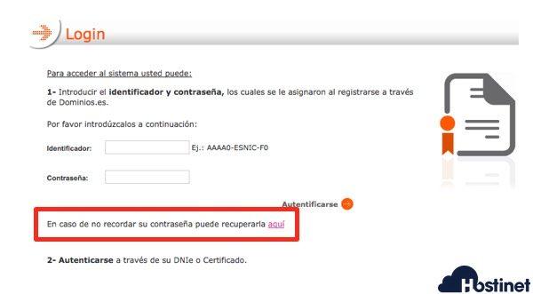 dominio es recuperar contrasena - Dominios.es