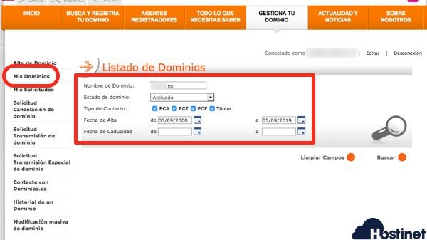 dominios .es mis dominios - Dominios.es