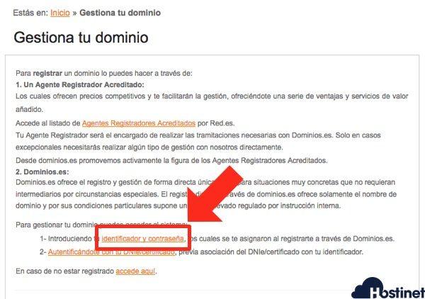 dominios es identificador contrasena Dominios.es