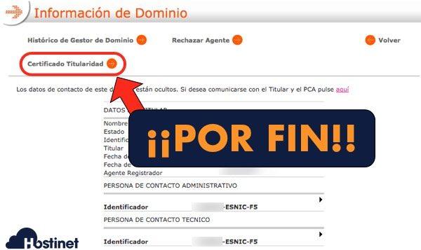 dominios es opcion certificado titularidad - Dominios.es