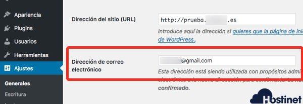 email admin wordpress