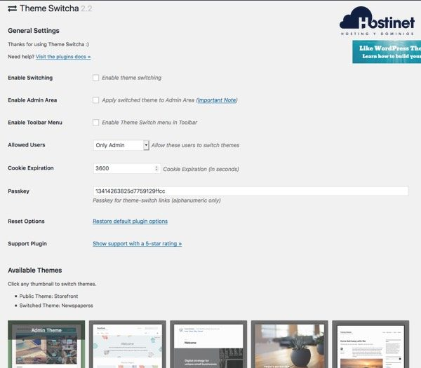 opciones theme switcha WordPress