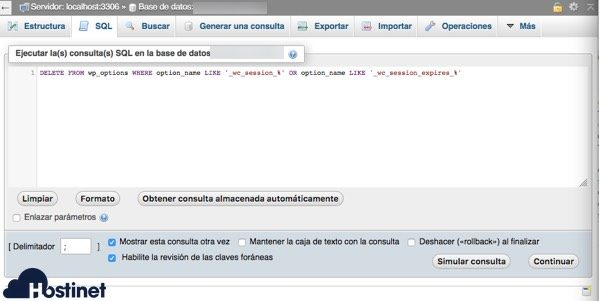 php my admin limpiar sesiones woocommerce