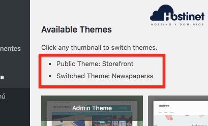 theme switcha distintos temas WordPress