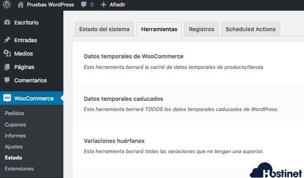 woocommerce estado herramientas - WordPress