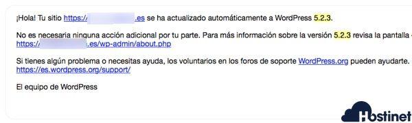 wordpress email 523 actualizado