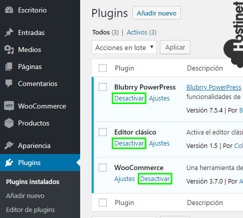 wp plugins desactivar