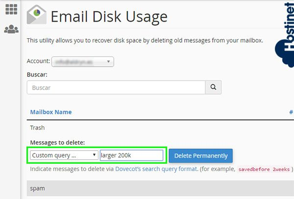 email disk usage custom query larger 200k