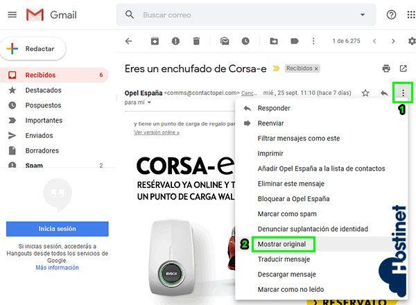 gmail cabeceras