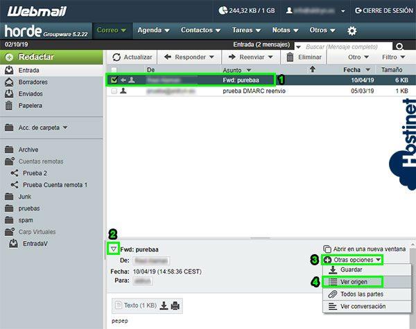 webmail horde cabeceras