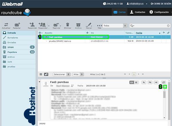 webmail roundcube cabeceras