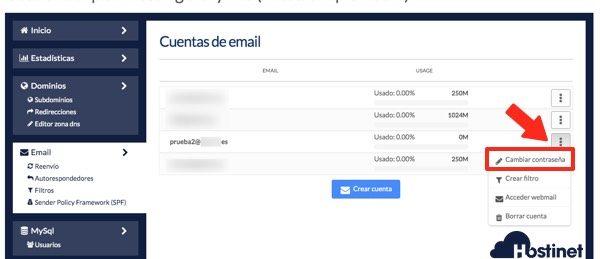 menu cliente hostinet cambiar contrasena email - Hostinet.com