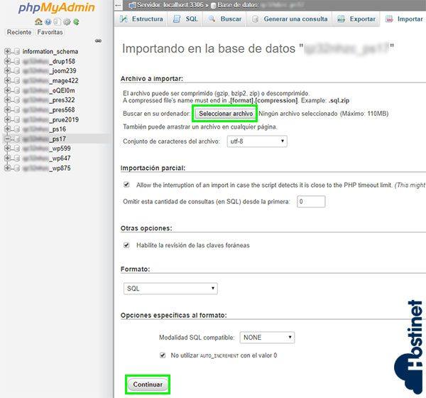 phpmyadmin importar bbdd seleccionar