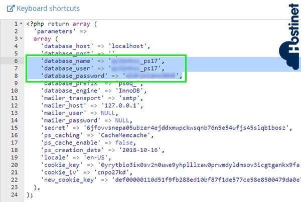 PrestaShop 1.7 Clon Parameters database