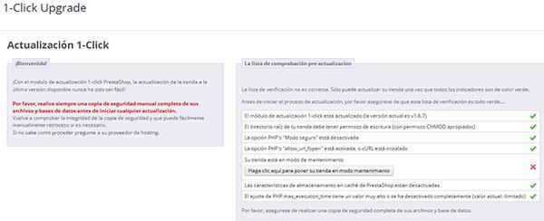 1-Click Upgrade - Comprobación pre-actualización